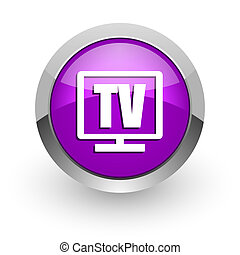 tv pink glossy web icon