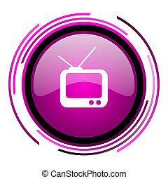 Tv pink glossy web icon isolated on white background