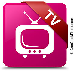 TV pink square button red ribbon in corner