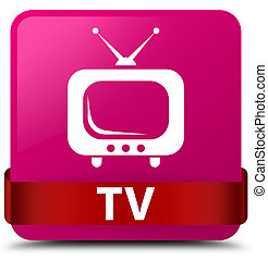 TV pink square button red ribbon in middle