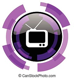 Tv pink violet modern design vector web and smartphone icon. Round button in eps 10 isolated on white background.
