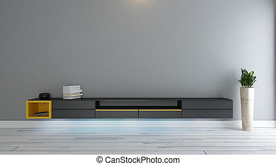 tv, plante, noir, stand