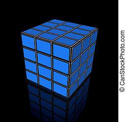 tv, plat, cube, vidéo, écrans