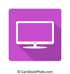 tv, plat, design., icône