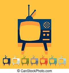 tv, plat, design:, vieux