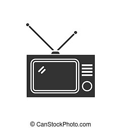 tv, plat, icône