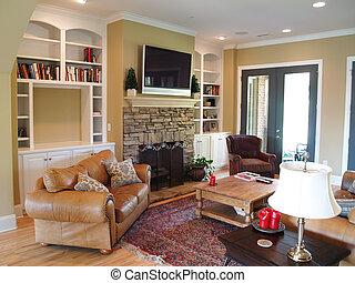 tv, plat, salle, famille, panneau