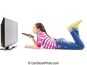 tv, poco, condotto, ragazza, osservare