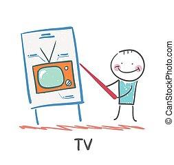 tv, présentation, homme