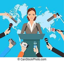 tv, premere, vivere, mondo, intervista, conferenza, notizie