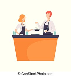 TV presenter and guest cooking some food in TV studio, cooking show vector Illustration on a white background