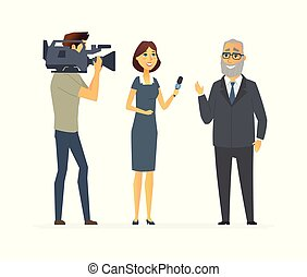 TV presenter having an interview - cartoon people character isolated illustration