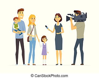 TV presenter interviewing young family - cartoon people character isolated illustration