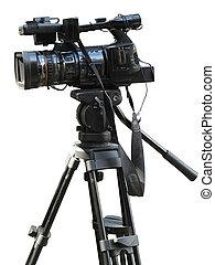 TV Professional studio digital video camera isolated on white