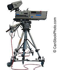 tv, professionnel, isolé, appareil photo, vidéo, numérique, studio, blanc
