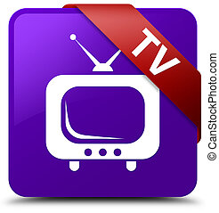 TV purple square button red ribbon in corner