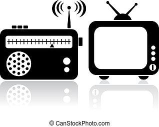 tv, rádio, ícones