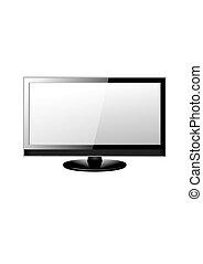tv, réaliste, écran, vecteur, illustration