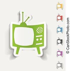 tv, réaliste, conception, vieux, element.