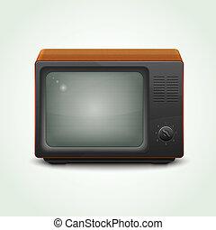 tv, réaliste, ensemble, retro