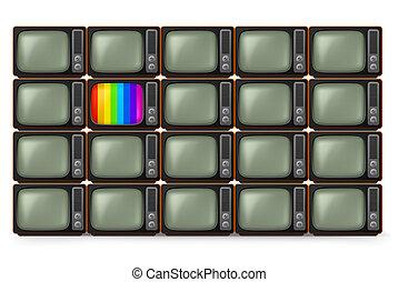 tv, réaliste, retro