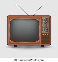 tv, réaliste, vieux, vendange