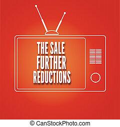 tv, réduction, silhouette, vente, plus loin