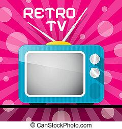 tv, résumé, bleu, retro, illustration, fond, tã©lã©viseur, rose