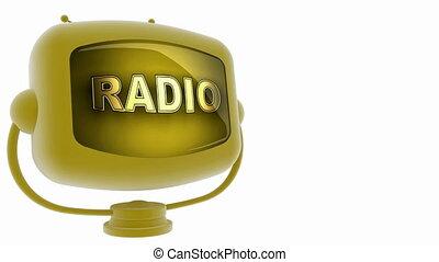 tv, radio, accouplé, boucle, alpha