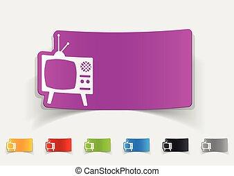 tv, realístico, desenho, antigas, element.