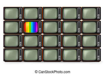 tv, realistico, retro