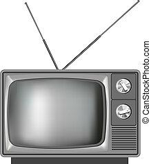 tv, realistisk, television, gammal, illustration