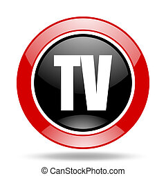 tv red and black web glossy round icon