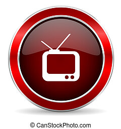 tv red circle glossy web icon, round button with metallic border