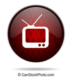 tv red glossy web icon on white background