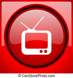 tv red icon plastic glossy button