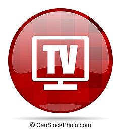 tv red round circle glossy modern design web icon