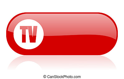 tv red web glossy icon