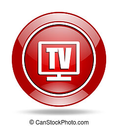 tv red web glossy round icon