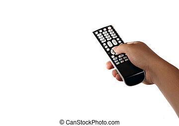 TV Remote Control - A hand holding a remote control isolated...