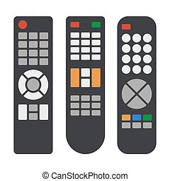 Tv Remote Control Icons Set on White Background. Vector