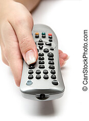 TV Remote Control - Switching channels. White background.