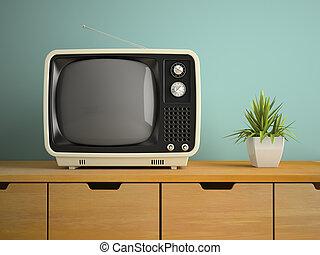 tv, rendre, partie, retro, intérieur, 3d