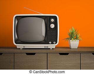 tv, rendre, partie, retro, intérieur, blanc, 3d