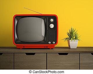 tv, rendre, partie, retro, intérieur, rouges, 3d