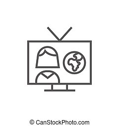 TV report line icon.