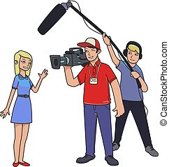 TV report, shooting news . A female reporter, cameraman and sound engineer. Cartoon vector illustration isolated on white background.