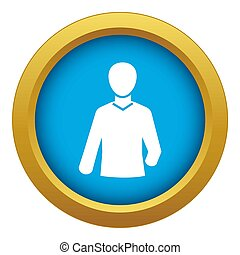 Tv reporter microphone icon blue isolated