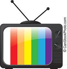 tv, retro, élégant, icône, vecteur