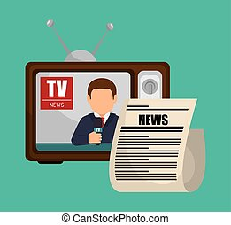 tv retro anchorman news graphic vector illustration eps 10